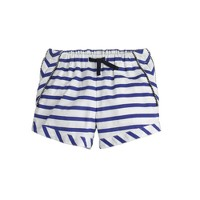 Girls' piped pull-on short in switched-up stripe