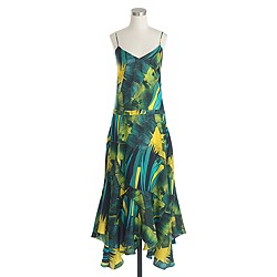Collection Italian silk ruffle-hem dress in jungle