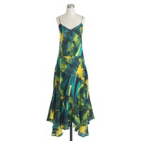 Collection Italian silk ruffle-hem dress in jungle