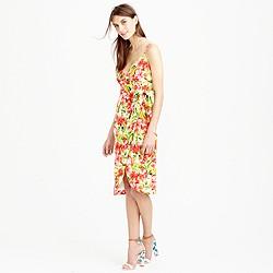 Collection Italian silk wrap dress in hibiscus
