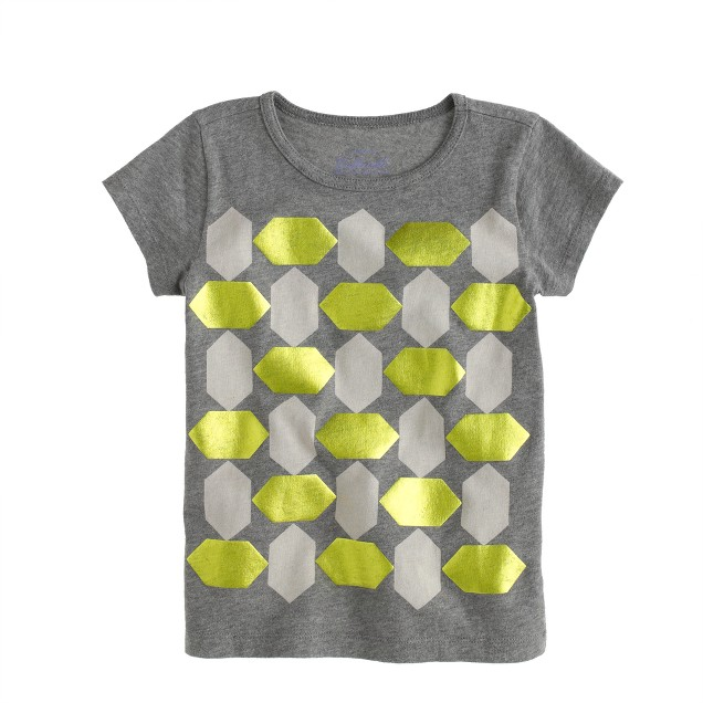 Girls' foil hexagon grid T-shirt