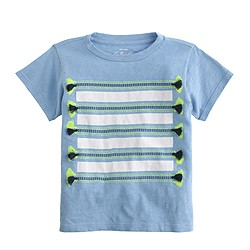 Girls' striped tassel T-shirt