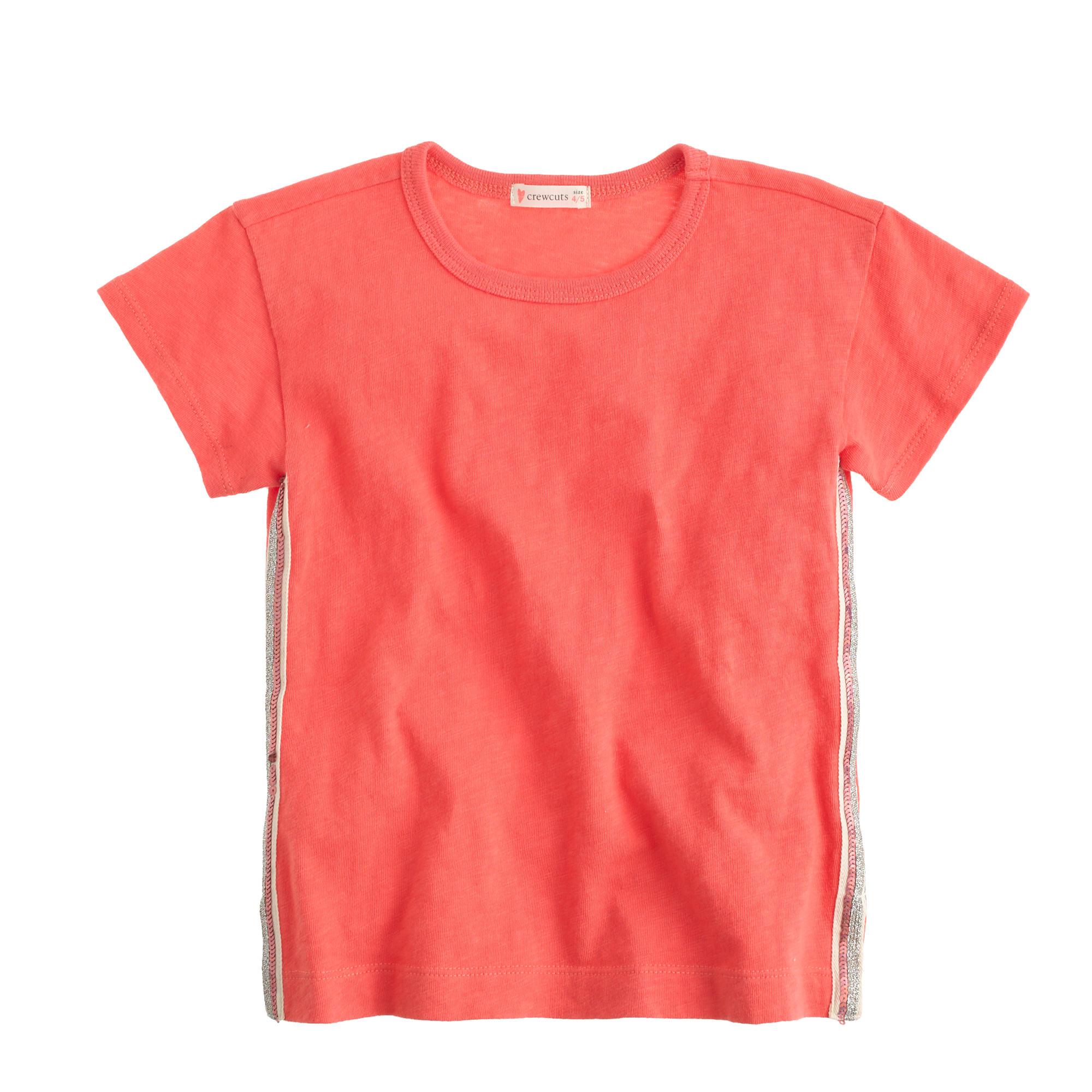 Girls 39 Sequin Seam T Shirt Girl Short Sleeve T Shirts