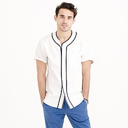 Short-sleeve vintage oxford baseball shirt
