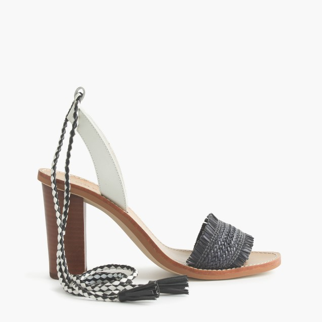 Raffia ankle-tie high-heel sandals