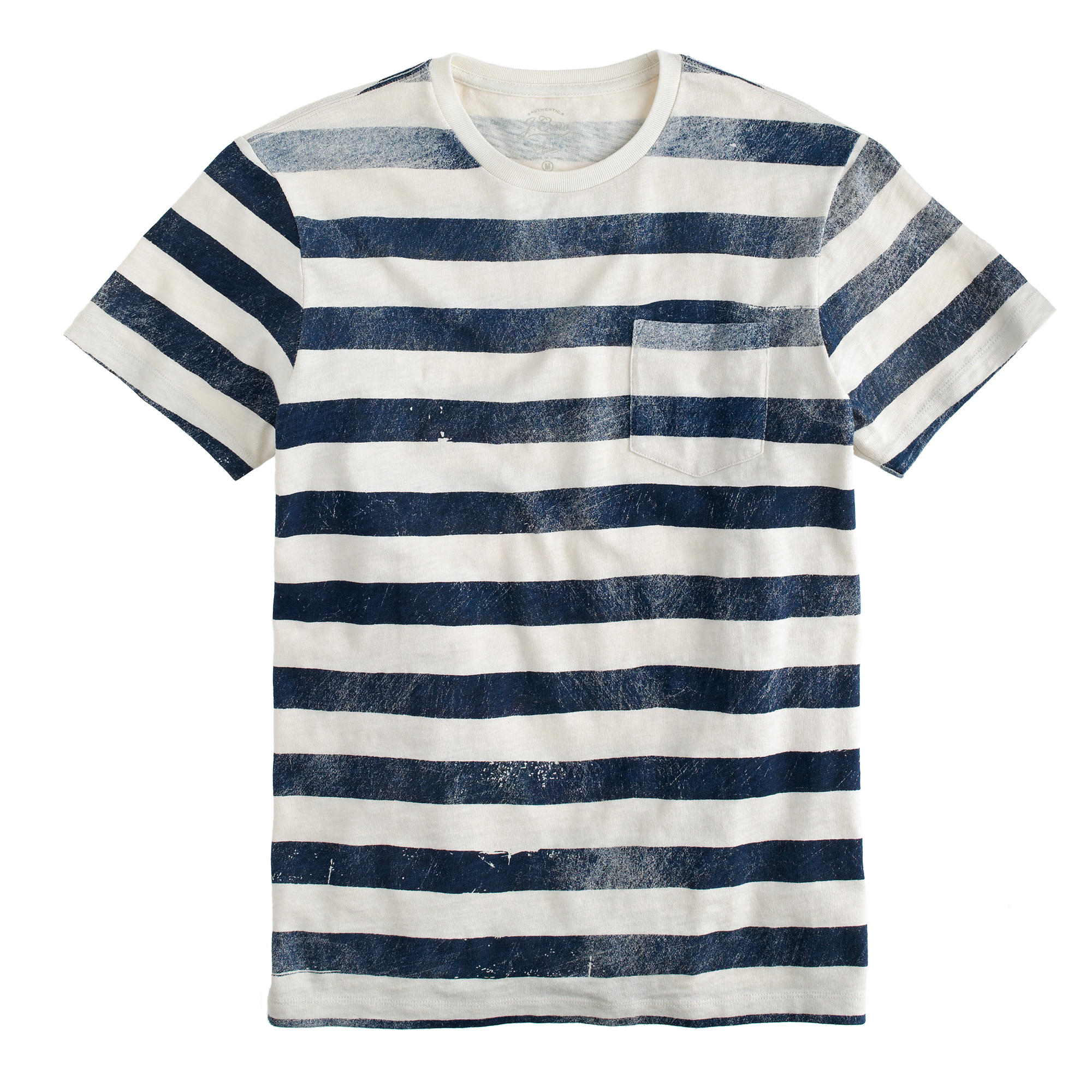 Textured Cotton T Shirt In Faded Distressed Stripe J Crew