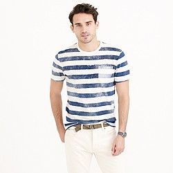 Textured cotton T-shirt in faded distressed stripe