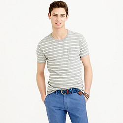 Textured cotton T-shirt in distressed stripe