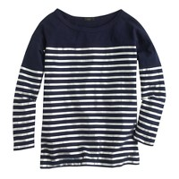 Metallic stripe three-quarter sleeve T-shirt
