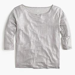 Linen boatneck T-shirt in metallic