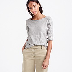 Linen boatneck T-shirt in metallic