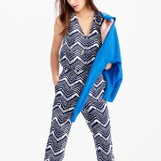 Linen-cotton V-neck jumpsuit in zigzag