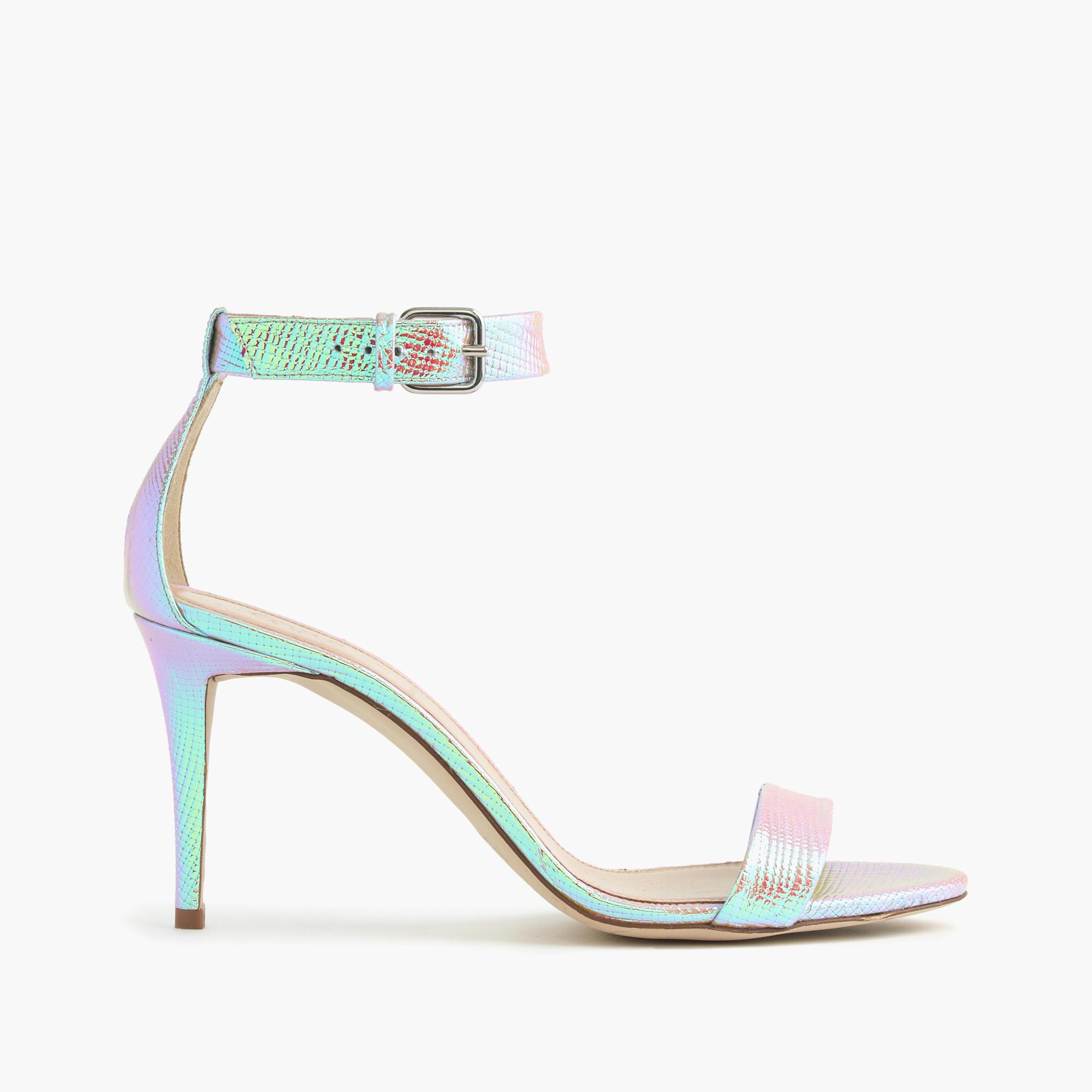 iridescent ankle high heel sandals j crew