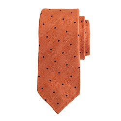 Drake's® herringbone spot tie in orange