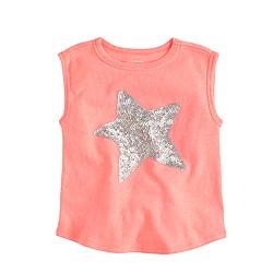 Girls' sequin star muscle T-shirt