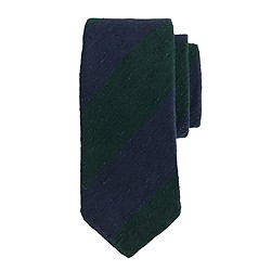 Drake's® regimental striped tie in blue and green