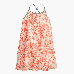 Girls' sundress in woodblock coral