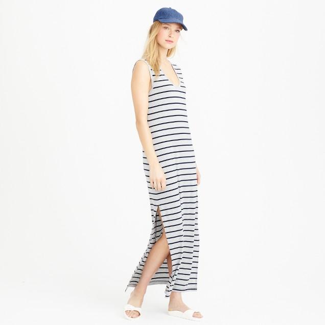 Petite striped maxi tank dress