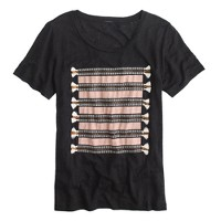 Linen embroidered tassel striped T-shirt