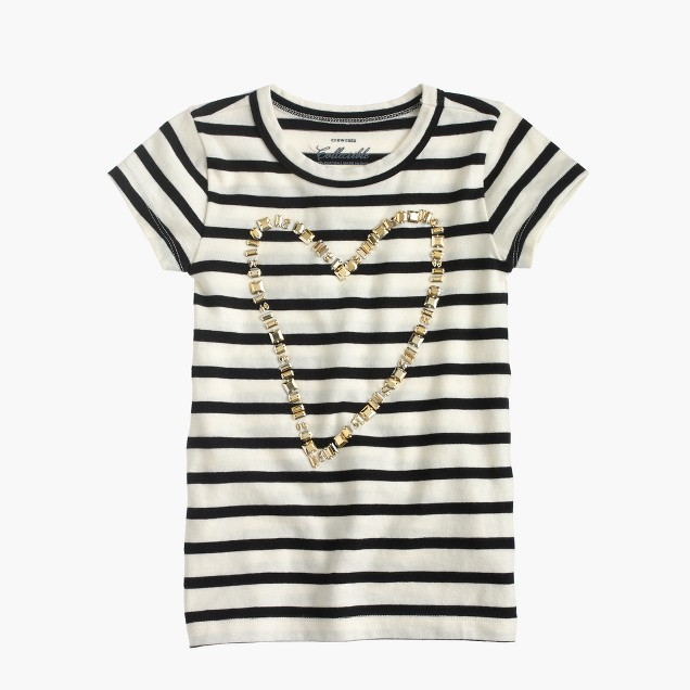 Girls' gold heart striped T-shirt