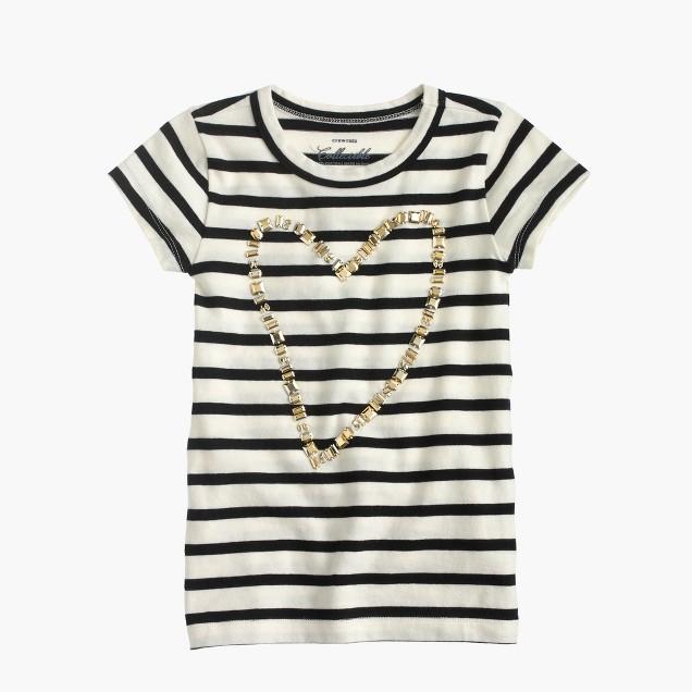 Girls' gold heart striped T-shirt
