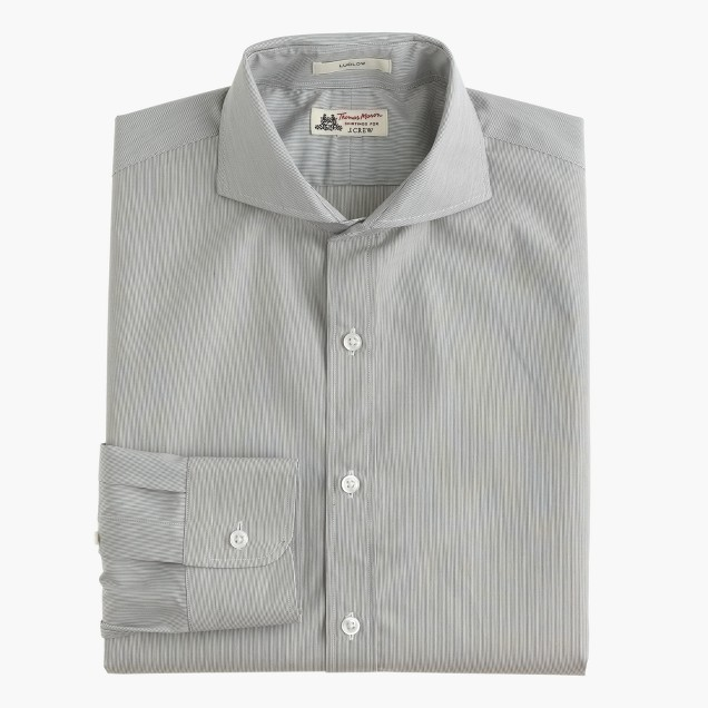 Thomas Mason® for J.Crew Ludlow cutaway-collar shirt in grey stripe