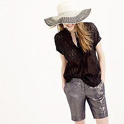 Short-sleeve popover shirt in zigzag eyelet