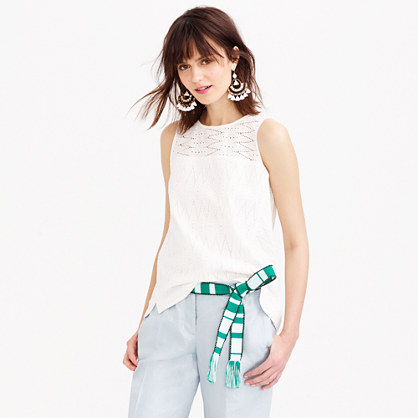 Petite seamed shell in zigzag eyelet