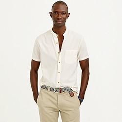 Short-sleeve Indian cotton band-collar shirt