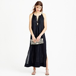Linen halter maxi dress