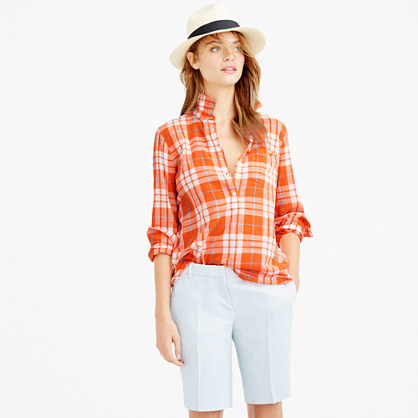 Gauzy popover shirt in orange plaid