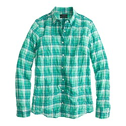 Perfect shirt in green crinkle plaid