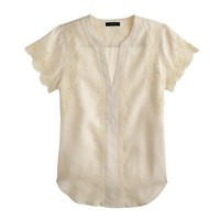 Collection scallop-sleeve peasant top