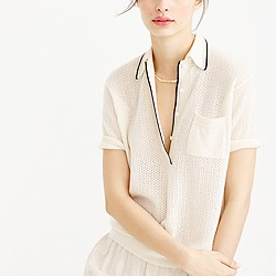 Collection cashmere tipped polo sweater