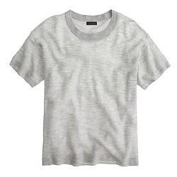 Italian cashmere short-sleeve pointelle sweater