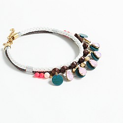 Crystal palm leaf necklace