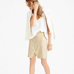 Crossover wrap skirt in metallic linen