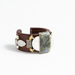 Mixed stone wooden cuff bracelet