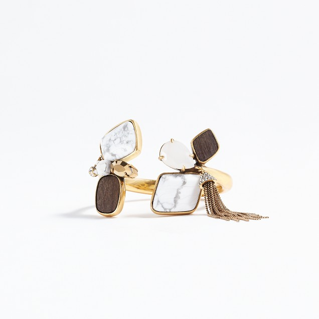 Mixed stone tassel cuff bracelet