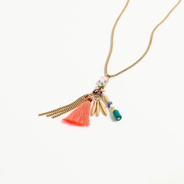 Crystal tassel charm necklace