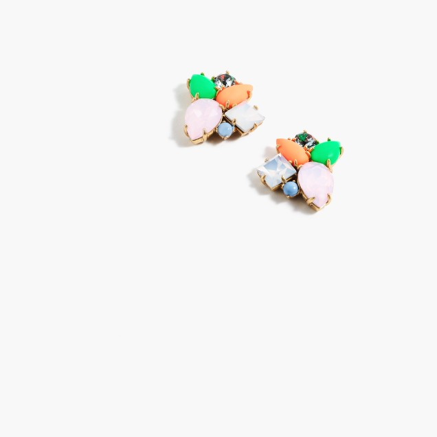 Multicolor crystal cluster earrings