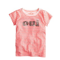 Girls' oui-non sequin T-shirt