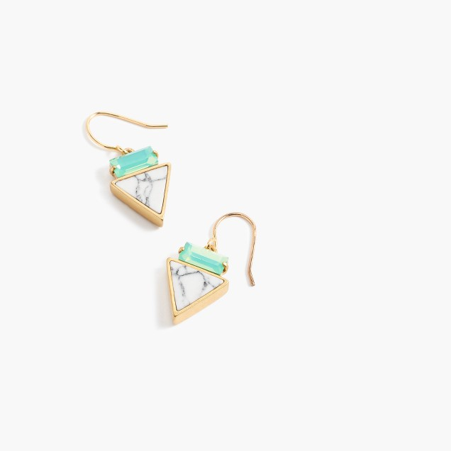 Triangle inlay crystal earrings