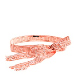 Woven fringe tie belt