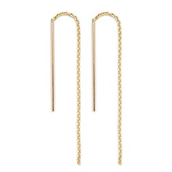 Brvtvs™ 14k gold threaded chain earrings