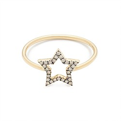 Rosa de la Cruz London™ 18k gold and diamond small star ring