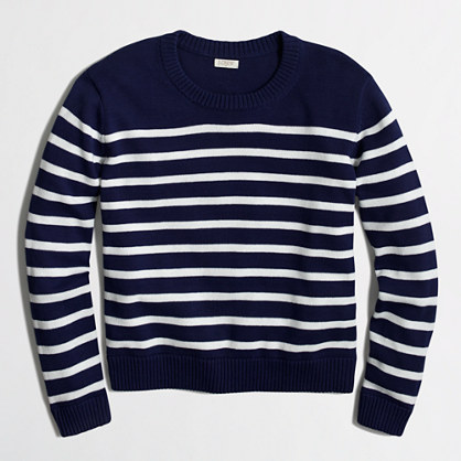 Cropped cotton sweater in stripe