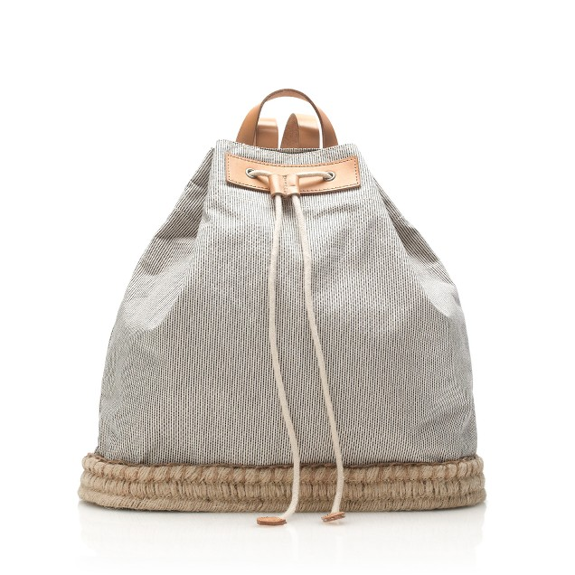 Skinny-striped drawstring backpack