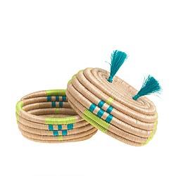 Indego Africa™ turquoise pom basket
