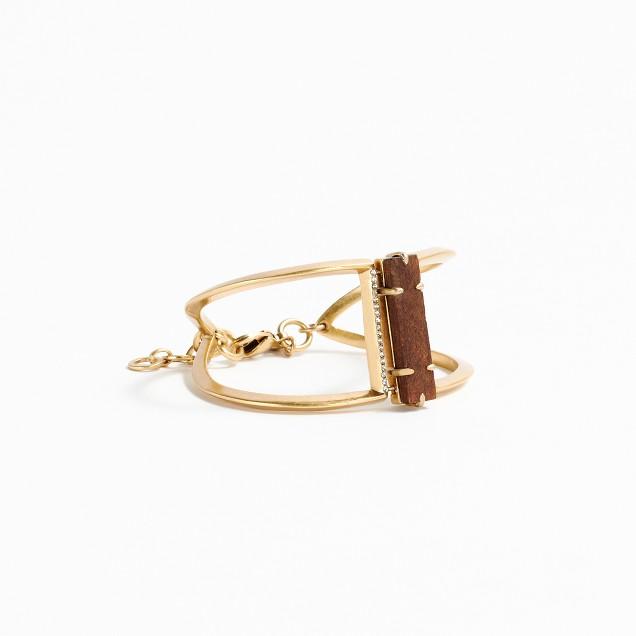 Wood and pavé cuff bracelet